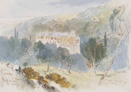 Картина Эдварда Лира, монастырь Констамонит на Афоне (лот 121), 1856