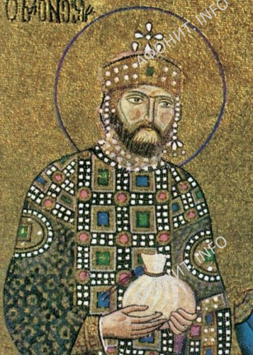Константин IX Мономах. Мозаика из собора Святой Софии в Константинополе. Ок. 1030–1042.