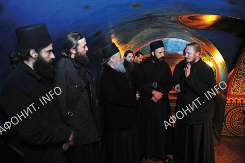 Братия монастыря Дохиар в гостях у братии Киевского Троицкого Ионинского монастыря