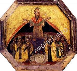 Икона Покрова Божией Матери из Запорожской Сечи Сечевая или Казацкая Покрова