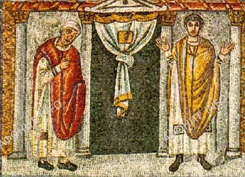 Мытарь и фарисей. Равеннская мозаика V в.