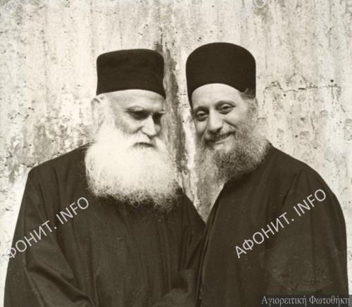Схиархимандрит Эмилиан (Вафидис) с иеросхимонахомом Ефремом Катунакским