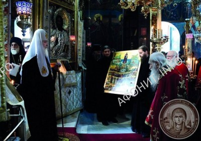 Патриарх Кирилл и игумен Иеремия (Алехин) в Пантелеимоновом монастыре на Афоне