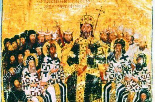 Исихастский собор 1351 г. в Константинополе. Миниатюра из богословских сочинений Иоанна VI Кантакузина. 1371–1375 гг. Париж