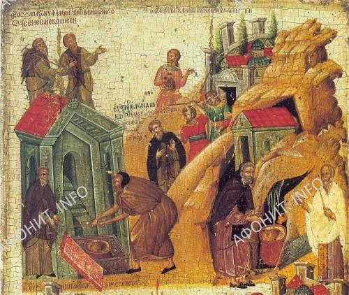 Икона Обретение честной главы св. Иоанна Предотечи. Великая Лавра на Афоне, XIV в.