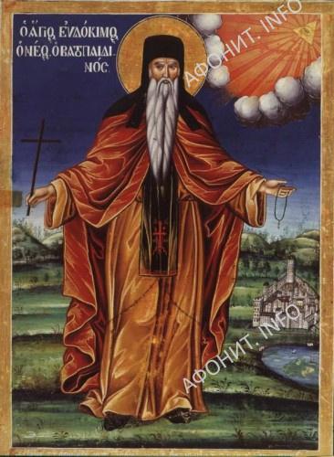 Преподобный Евдоким Ватопедского. Икона 1842 г.