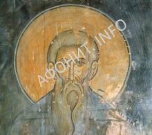 Прп. Георгий Святогорец. Фреска Ахтальского собора. Грузия. XIII век.