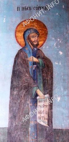 Преподобный Нил Сорский. Стенопись на колонне Успенского собора Кирилло-Белозерского монастыря (1641 г.)
