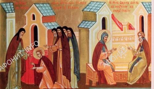 Монашеский постриг св. Нила. Св. Нил отдан в научение старцу Паисию. Клеймо иконы Воскресенского Горицкого монастыря