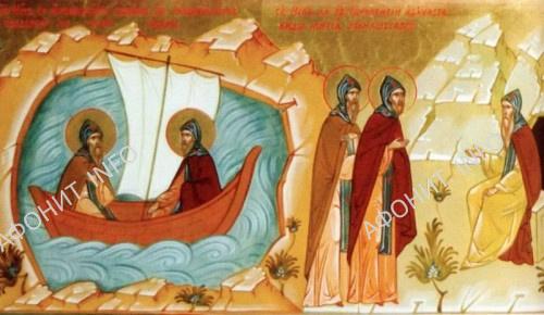 Св. Нил и св. Иннокентий в пути на гору Афон. Святые изучают виды жития монашеского
