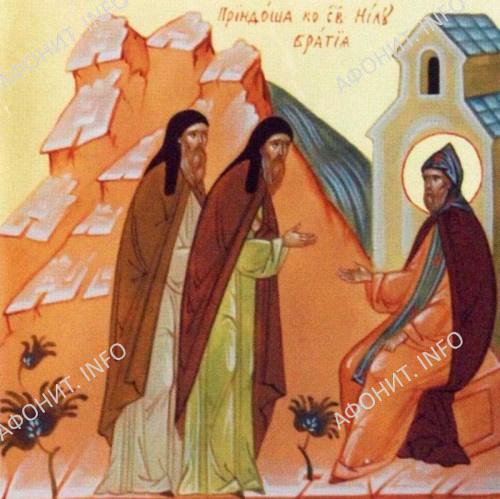 Пришла к св. Нилу братия. Клеймо иконы Воскресенского Горицкого монастыря