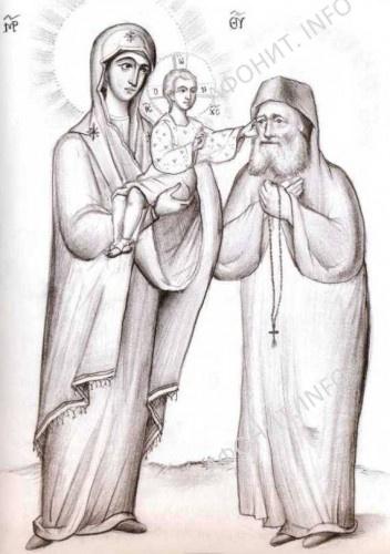 Сам Христос вышел из объятий Своей Матери, обнял его и три раза погладил