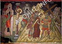 Исус Христос на Голгофе. Фреска Феофана Критского. Монастырь Ставроникита, Афон, 1546 г