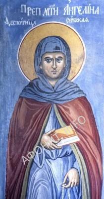 Преп. матерь Ангелина, деспотица Сербская. Фреска Сербской Лавры Хиландарь