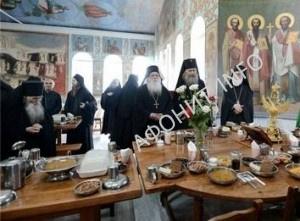 Трапеза в Русском на Афоне Свято-Пантелеимоновом монастыре