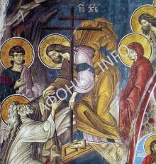 Воскресение Христово. Фреска 1312 г. Кафоликон Ватопедского монастыря. Афон