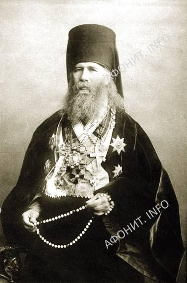 Архиепископ Никанор (Бровкович, 1826-1890). Среди наград самый верхний в центре на ленте — золотой знак почетного члена Императорского Православного Палестинского Общества